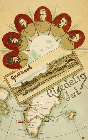 Samuel Balto - Postcard featuring of the members of Nansen's Trans-Greenland Expedition