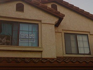 "A window with a ""No on Proposition 8""..."