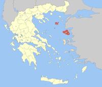 Lage der Präfektur Lesbos (1915–2010) innerhalb Griechenlands