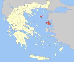 Location of Lesbos in Greece