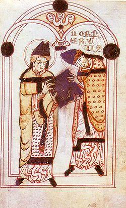 Hippói Szent Ágoston átnyújtja Norbertnek rendjének előírásait (1140 körül készült kódex képe)