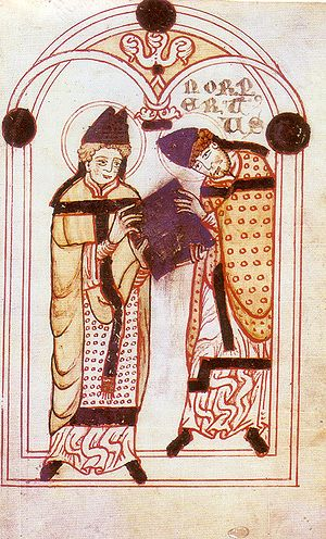 "Norbert of Xanten - Norbert (on the right) receives the Augustinian Rule from Saint Augustine.  From the ""Vita Sancti Norberti,"" 12th-century manuscript."
