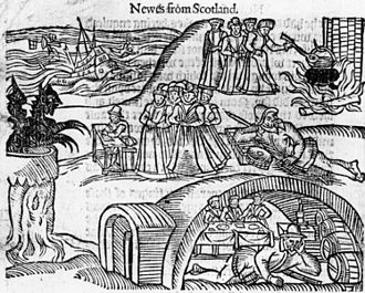 Witch trials in early modern Scotland - The North Berwick Witches meet the Devil in the local kirkyard, from a contemporary pamphlet, Newes From Scotland