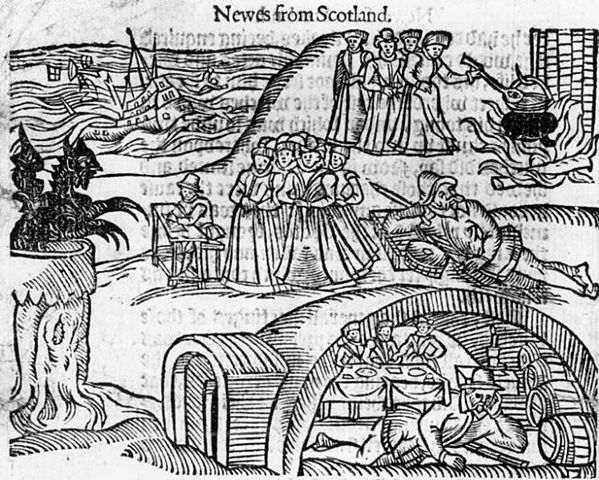 The North Berwick Witches meet the Devil in the local kirkyard, from a contemporary pamphlet, Newes From Scotland By Unknown - googleimages, Public Domain, https://commons.wikimedia.org/w/index.php?curid=13223025