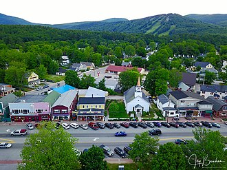 North Conway, New Hampshire - Aerial view of North Conway and Mount Cranmore