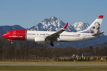 Kirsten Flagstad painted on a Norwegian Air Shuttle airliner. Norwegian Air Shuttle in Salzburg with Kirsten Flagstad on tail.jpg