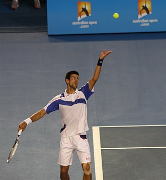 Serve (tennis) - Image: Novak Djokovic at the 2011 Australian Open 2