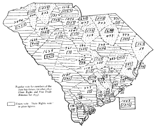 Nullification Controversy in South Carolina - Map V.—Popular vote on state convention, 1832.png