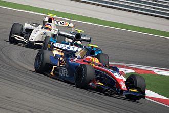 ISport International - Diego Nunes (iSport) leads Álvaro Parente and Romain Grosjean at the Turkish round of the 2009 GP2 Series season.