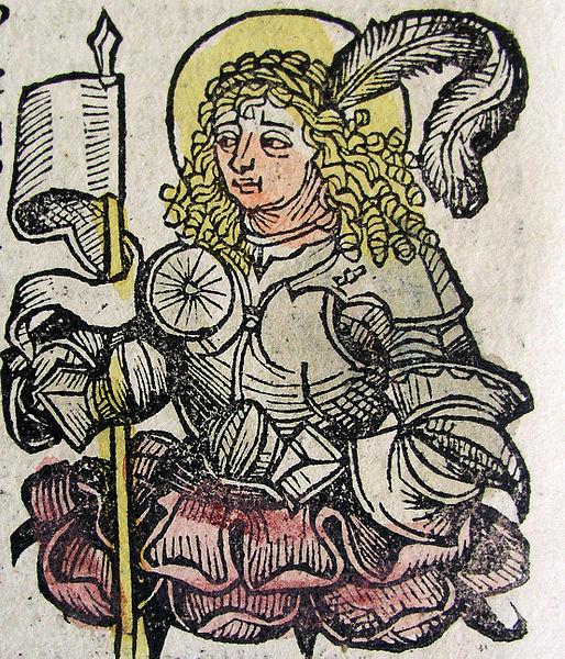 Den hellige Mennas av Egypt, fra Nürnberg-krøniken (1493)