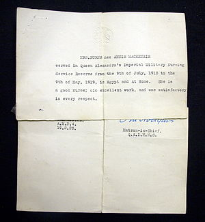 "Queen Alexandra's Royal Army Nursing Corps - A letter of recommendation signed by the Matron in Chief for a nurse in the QAIMNS Reserve who served from 1915-19 ""in Egypt and At Home"" (1925)"