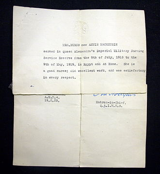 """Queen Alexandra's Royal Army Nursing Corps - A letter of recommendation signed by the Matron in Chief for a nurse in the QAIMNS Reserve who served from 1915-19 """"in Egypt and At Home"""" (1925)"""