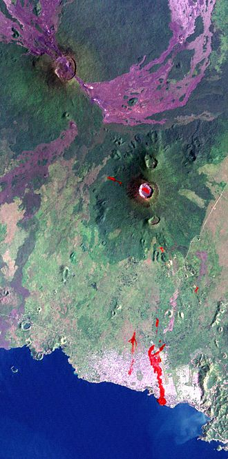 Nyamuragira - Lava flows from Nyamuragira (upper left) extend to Lake Kivu.