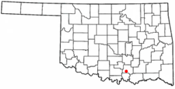 Location of Ravia, Oklahoma