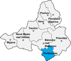 Localisation du district de Partizánske dans la région de Trenčín (carte interactive)