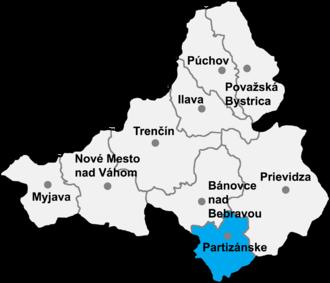 Klátova Nová Ves - Location of Partizánske District in the Trenčín Region