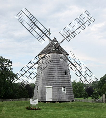 The c. 1806 Old Hook Mill in East Hampton is one of eleven extant windmills in Suffolk County. Old Hook Mill East Hampton.jpg
