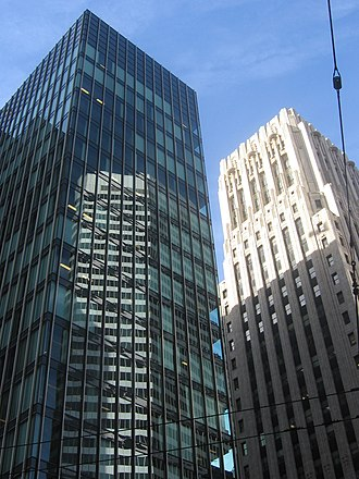 One Bush Plaza - The Crown Zellerbach Building (left) and Shell Building from Market Street in 2007