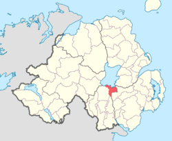 Location of Oneilland East, County Armagh, Northern Ireland.