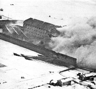 Operation Jericho - Dust and smoke from Amiens prison during the raid.