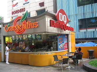 Orange Julius - An Orange Julius stall or juice bar outside Liat Towers, Orchard Road, Singapore, housed together with a Dairy Queen