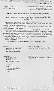 The original document ordering the creation of the Reserve
