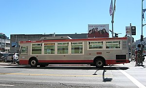 San Francisco Municipal Railway - An Orion VII bus operating in San Francisco. These buses were introduced in 2006 and were in service by 2007.