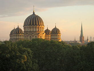 Latvian Orthodox Church - The domes of Nativity Cathedral are a landmark of the Riga cityscape.