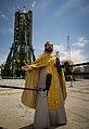 Orthodox priest talks to the press.jpg