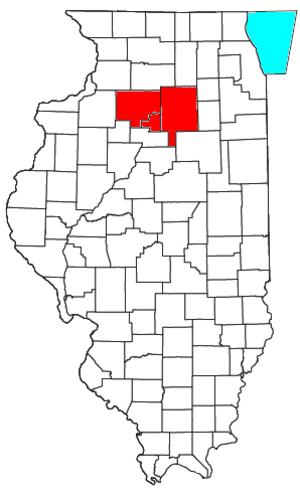 Ottawa–Peru, IL Micropolitan Statistical Area - Location of the Ottawa–Streator Micropolitan Statistical Area in Illinois