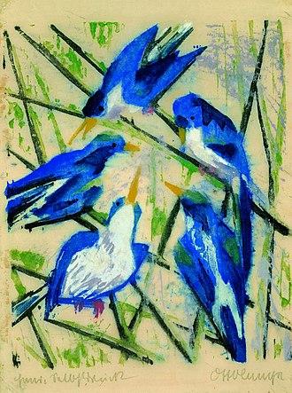 Otto Lange - Blue birds, 1916. Colour woodcut