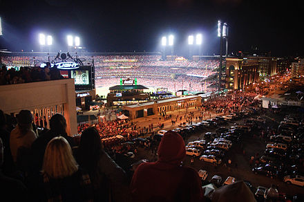 Crowds fill the stadium and parking lots during Game 7 Our view of the stadium.jpg