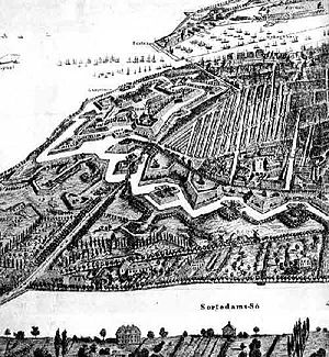 Farimagsgade - A detail from a topographical picture of Copenhagen from 1856: The northern section of the Farimagsvejen road, today Øster Farimagsgade, is seen in the bottom between the fortifications and the Sortedam Lake