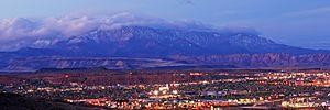 St. George, Utah - Overlook of downtown St. George at dusk