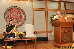 Smriti Irani - Irani and Prime Minister Modi at an informal interaction with awardee teachers on the eve of teachers day, in New Delhi.