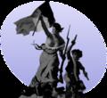 Libereco gvidanta la popolon, fare de Eugène Delacroix.