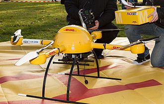 "Delivery drone - In December 2013, the DHL parcel service subsidiary of Deutsche Post AG tested a ""microdrones md4-1000"" for delivery of medicine."