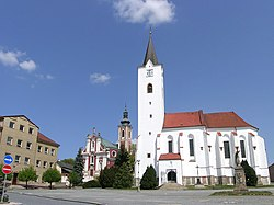 Saint Wenceslaus Church (left) and Saint Archangel Michael Church (right)