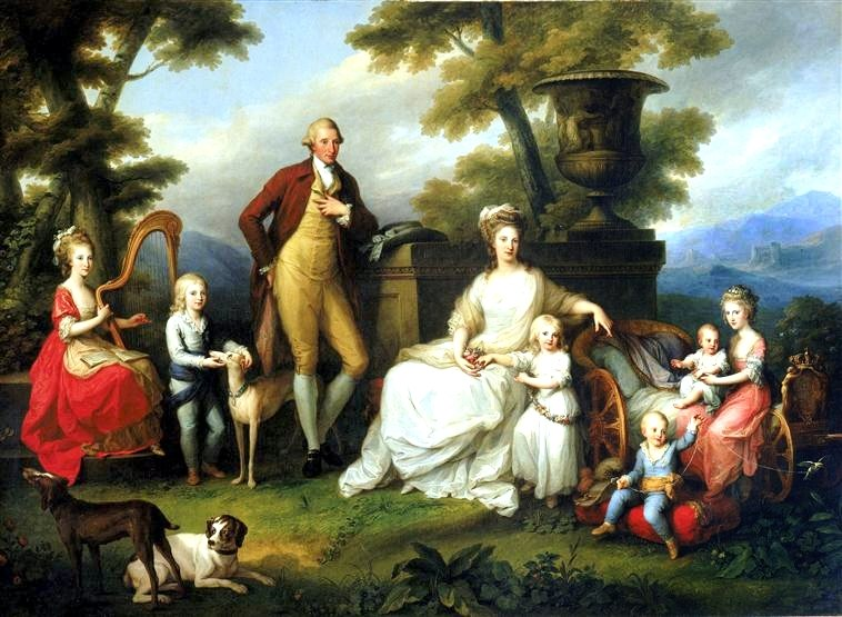 Family of Giuseppe in 1783 The Royal Family of Naples and Sicily in 1783, Angelica Kauffman; (L-R) Princess Maria Teresa; the future King Prince Francis; his father King Ferdinand; his, mother Maria Carolina of Austria holding Princess Maria Cristina Amelia's twin sister; Prince Gennaro (died in 1789); Princess Maria Amalia in the arms of Princess Luisa; the royal couple's seventh child was stillborn during the preparation phase for the painting. The artist then painted a veil over the child already in the cradle, which had been clearly visible in the modello.