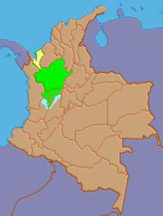 Paisa Region - Location of the Paisa Region in Colombia: In yellow the Antioquean Urabá, belonging to the cultural context of the Colombian Caribbean Region; in green the Paisa departments and in blue some Paisa areas of Tolima and Valle del Cauca.