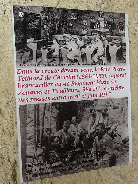 Paissy (Aisne) creute mémorial de guerre Teilhard de Chardin