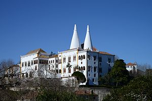 "Palace of Sintra - Palace of Sintra, also known as the ""Town Palace"". View from east, showing the Manueline section"