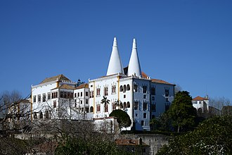 """Palace of Sintra - Palace of Sintra, also known as the """"Town Palace"""". View from east, showing the Manueline section"""