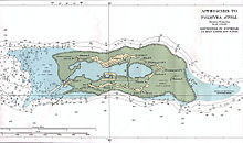 A chart of the atoll and its place in the waters