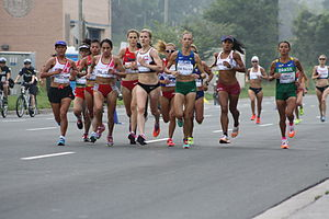 Athletics at the 2015 Pan American Games - The lead pack in the Pan American Games women's marathon.