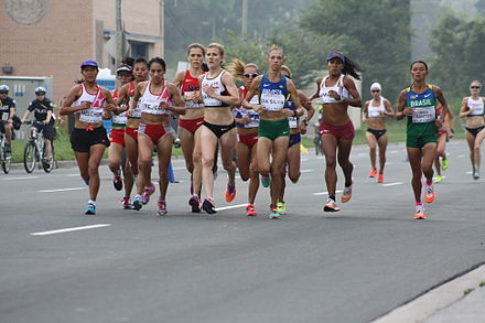 The lead pack in the Pan American Games women's marathon Pan American Games Women's Marathon.JPG