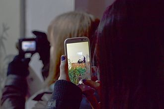 Edinburgh Zoo - A visitor captures a photo of Tian Tian the panda on her phone