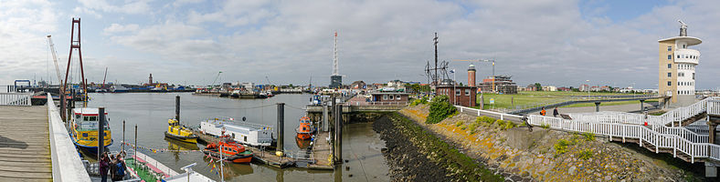 "Panoramic view over habour of Cuxhaven photographed from Old Love (""Alte Liebe"")"