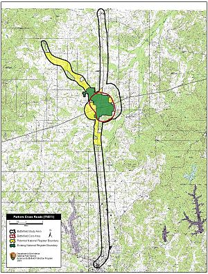 Battle of Parker's Cross Roads - Map of Parker's Cross Roads Battlefield core and study areas by the American Battlefield Protection Program.