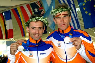 Sighted guide - Pilot Pascal Schoots (L) and Jan Mulder (R) won silver medals in cycling at the 2004 Summer Paralympics in Athens